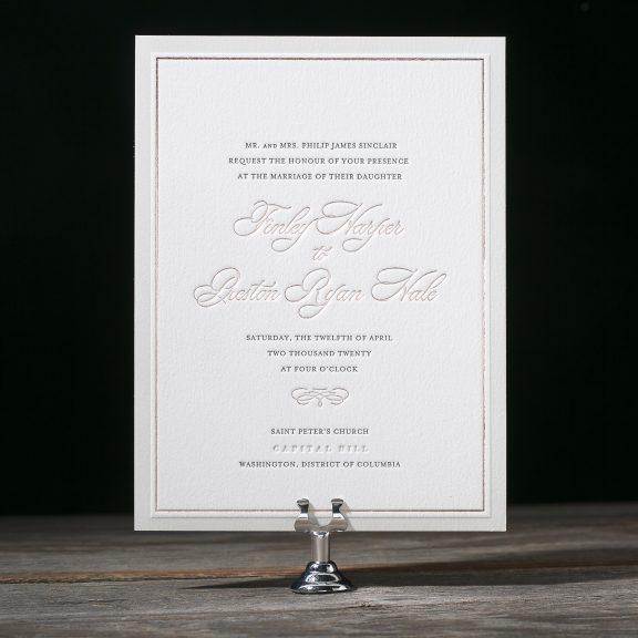 Townsend by Bella Figura, Classic Rose Gold Invitation