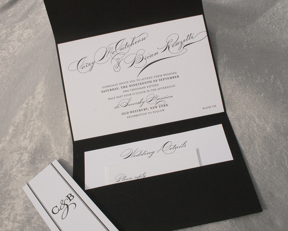 Cory + Brian, Wedding Invitation, Pocket Invitation, Black and White, Letterpress with striped bellyband