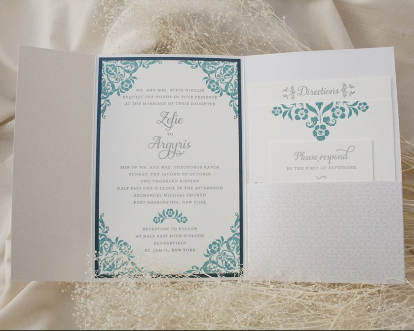 Zefie + Agyris, Wedding Invitation, Pocket Invitation, Letterpress