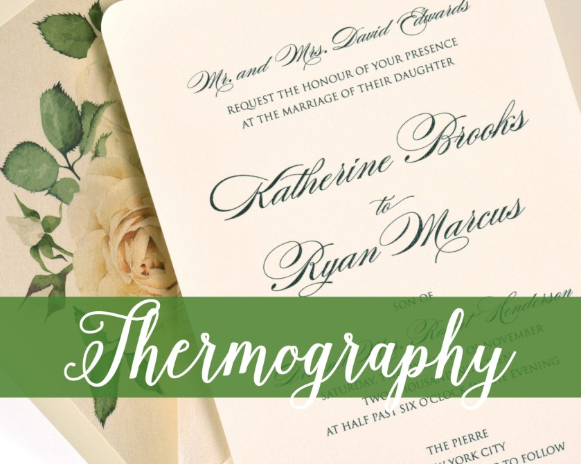 Thermography Printing, Wedding Invitation, Raised Ink, Black and Ivory Invitation with Rose Liner