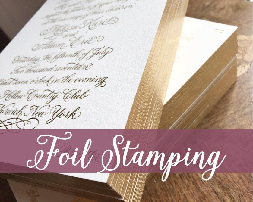 Foil Stamping, Gold Foil Formal Wedding Invitation, Gold Edging, Shiny Metallic Finish, Ivory Cotton Paper, Custom Calligraphy