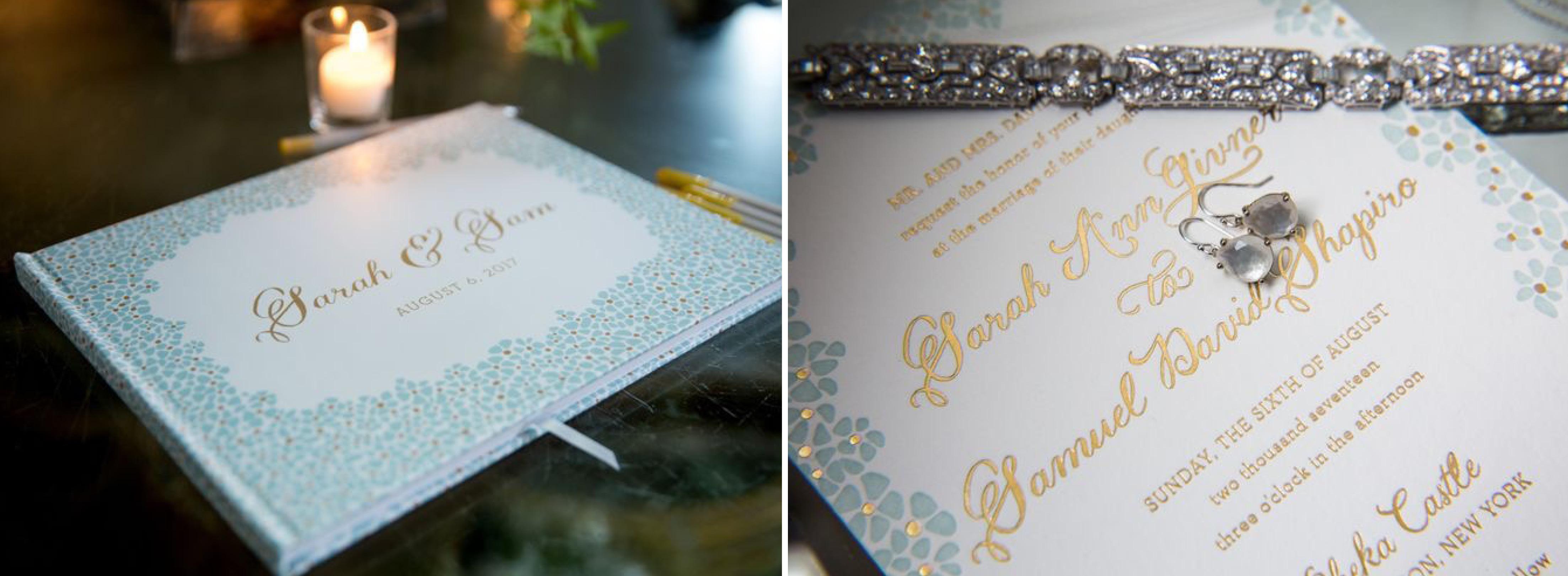Floral Wedding Invitation, Gold Foil Details, Mint Letterpress, Flower Guest Book