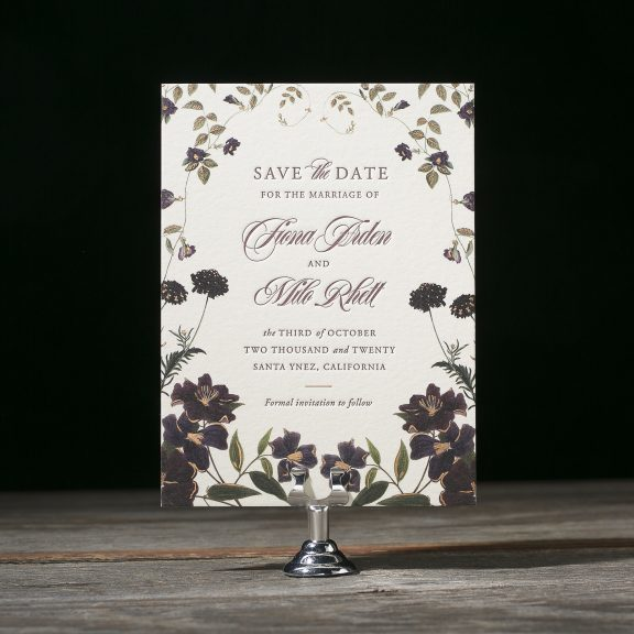 Floral Save the Date, Classic, Eggplant and Olive Color Palette, Wild Flowers and Vines