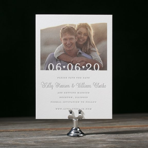 Photo Save the Date, Letterpress, gray and white
