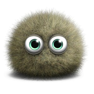 A grey furry ball with big plastic green eyes - cute
