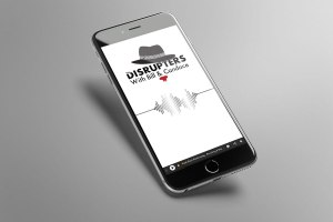 Disrupters Podcast logo on phone