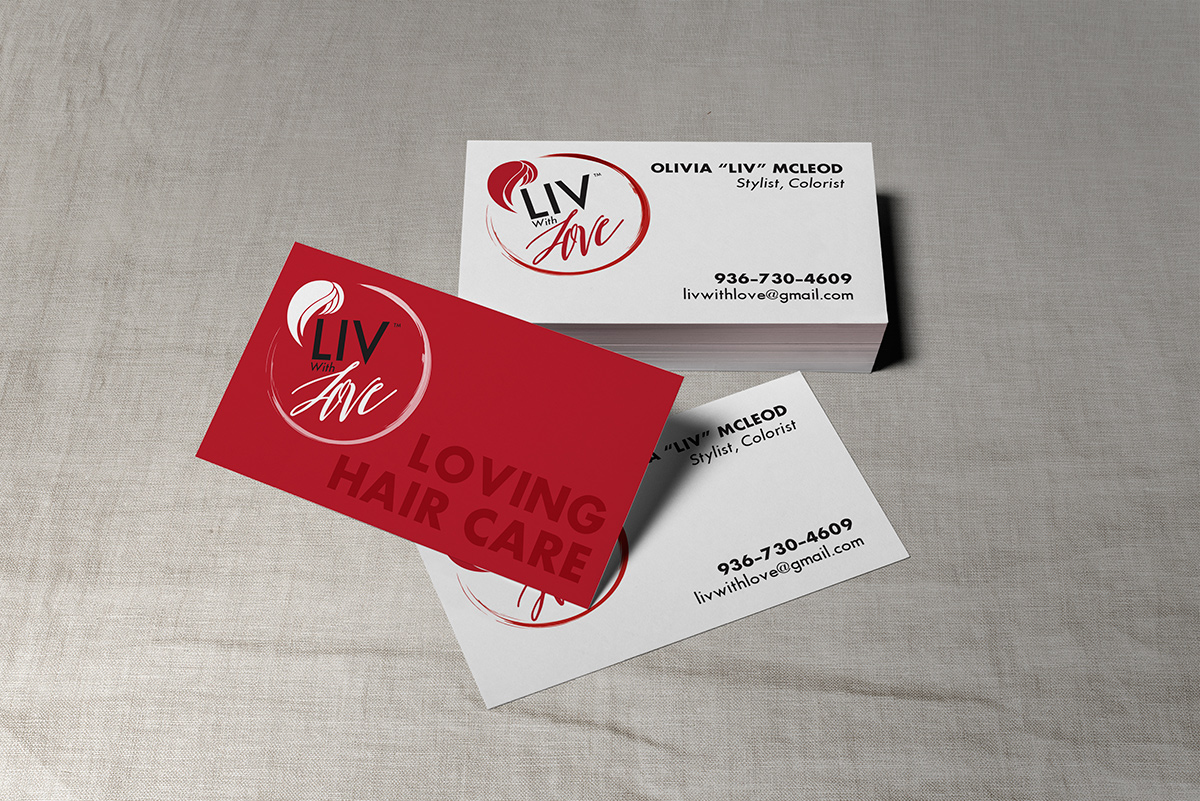 mockup of Liv With Love business cards
