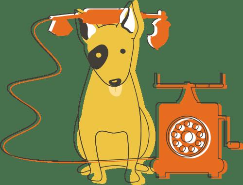 Illustration of dog on phone