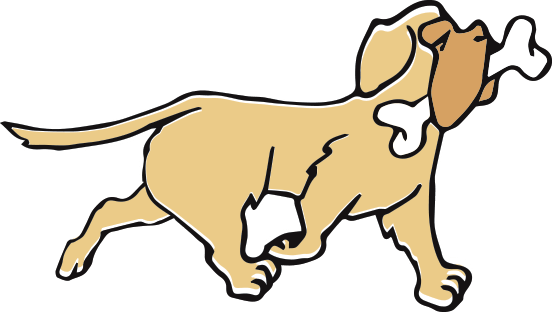 Illustrated dog with bone