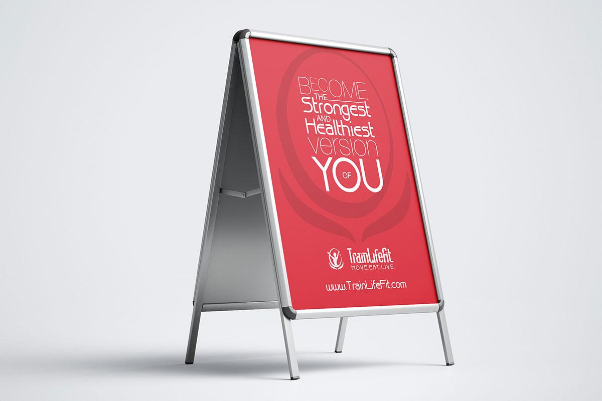 TrainLifeFit Austin A-Stand signage