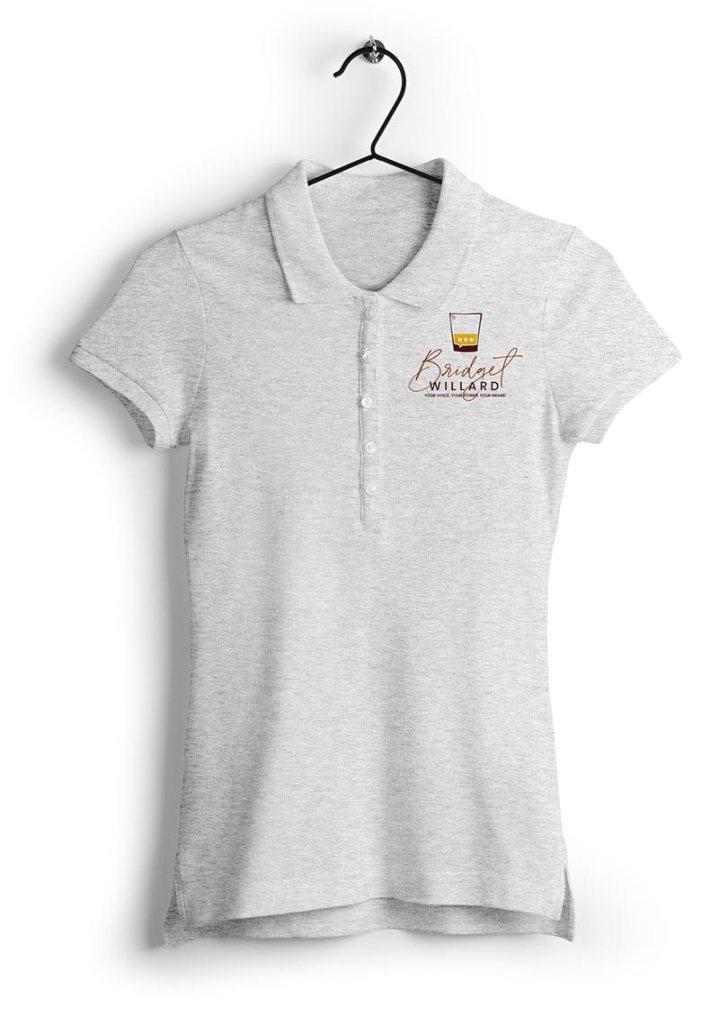 Bridget Willard, LLC polo shirt with new brand identity