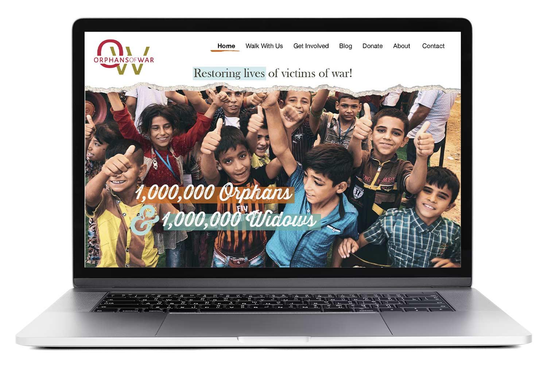 Orphans of War website on a laptop