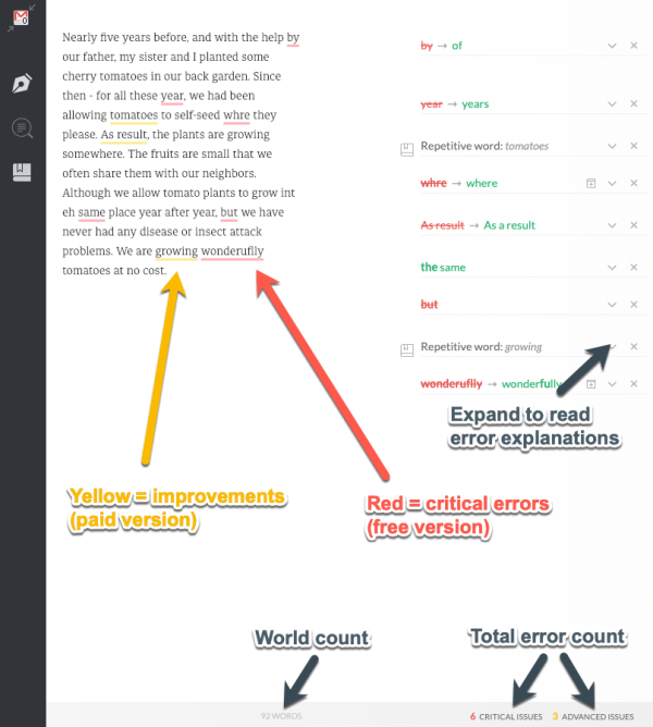 Yellow errors are improvements from the premium version