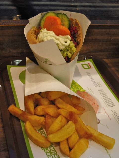 Falafel and Belgian fries from Maoz in London