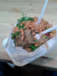 Small serving with haggis, beans & spinach salad