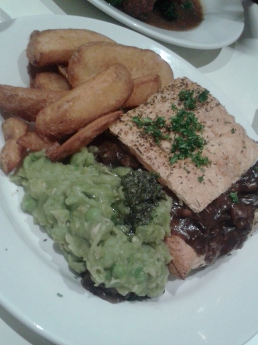 Mushroom & ale pie served with fries & mushy peas