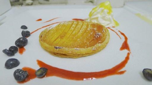 Candied mango frangipan & piña colada cream