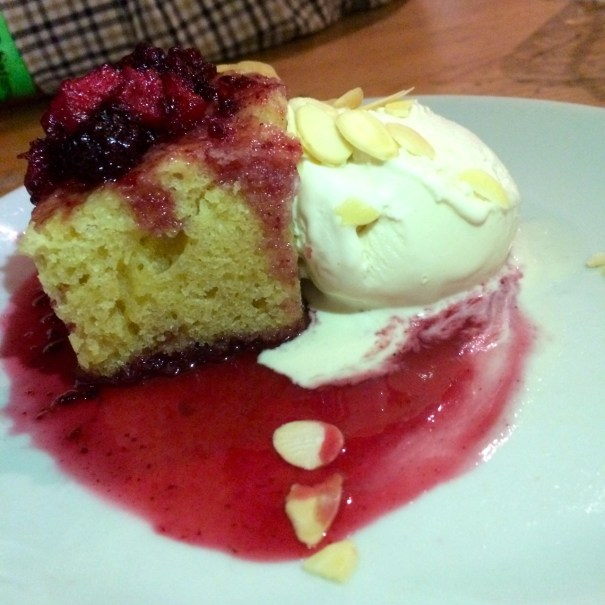 Bakewell cake with vegan ice cream