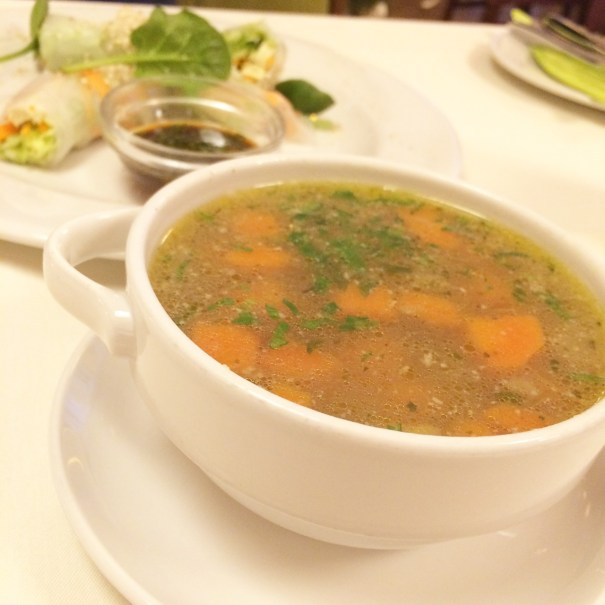 soup and fresh rolls