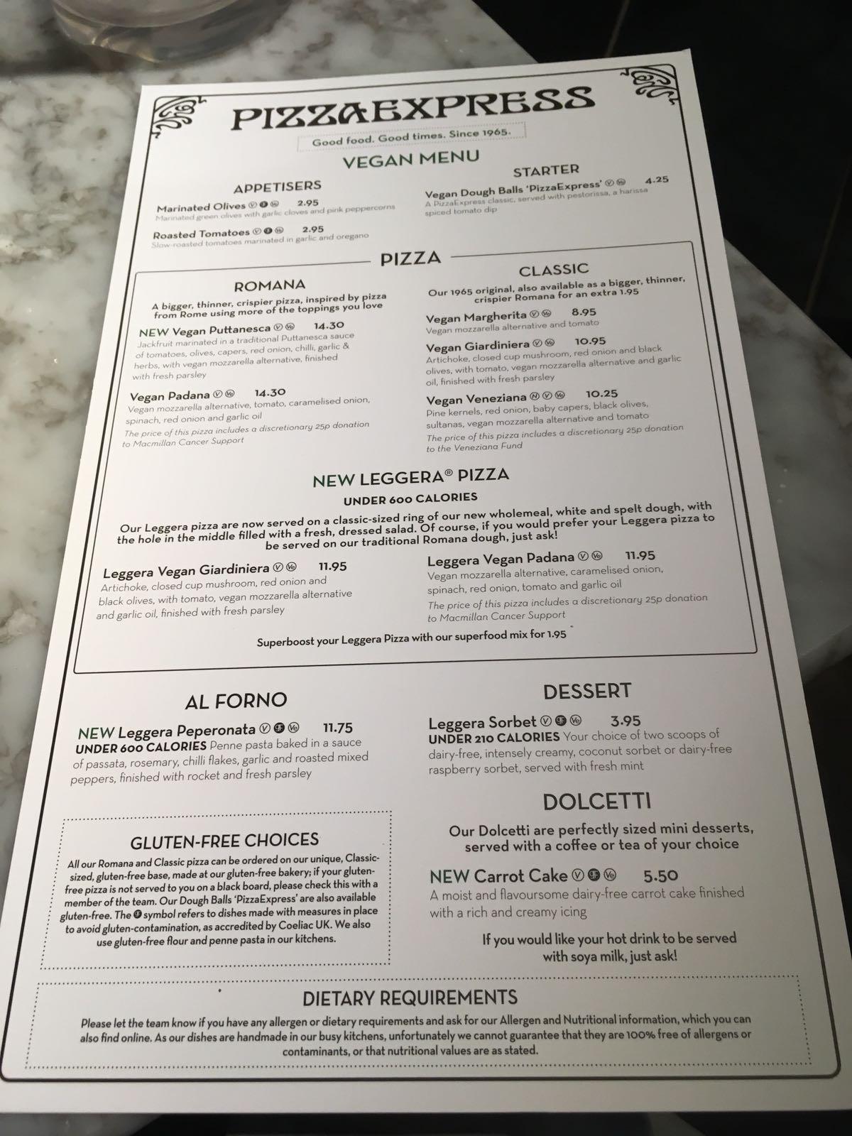New Vegan Menu At Pizza Express Fat Gay Vegan