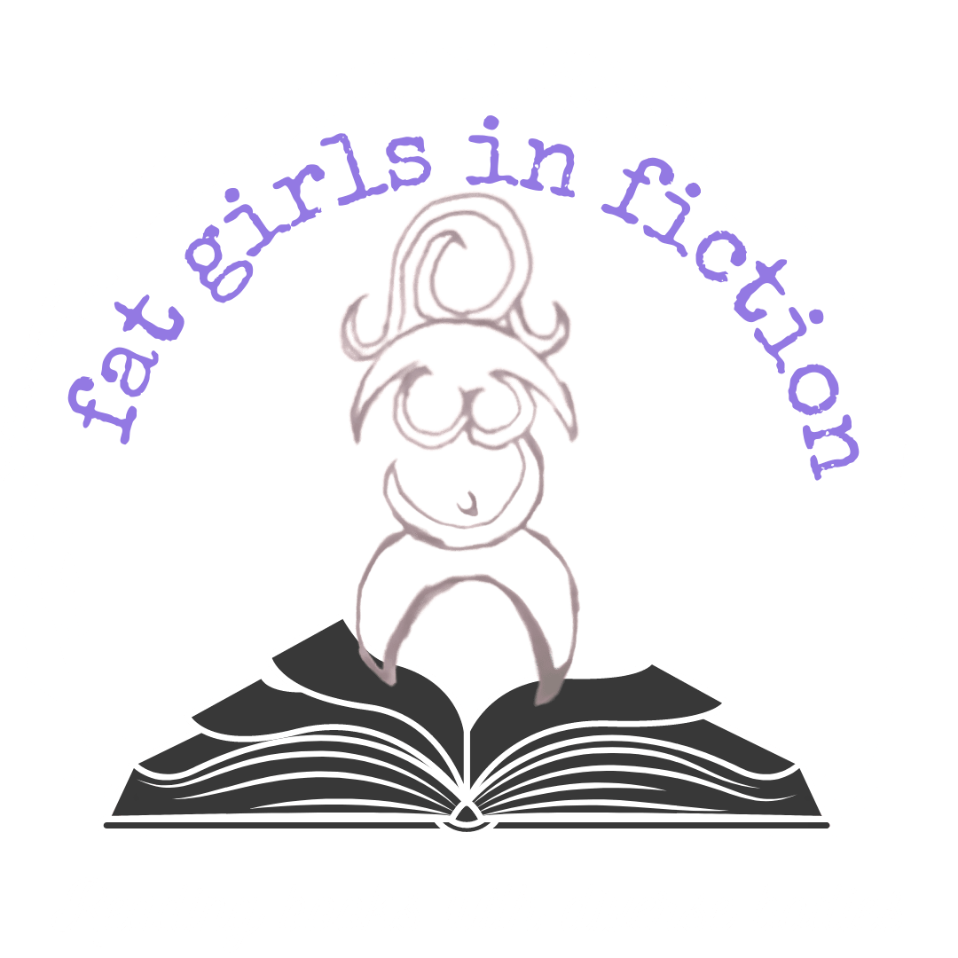 """Black and white image- illustration of a book with an 3/4 globe over it that could be a black coffee ring, standing on the book is a line abstract drawing of a fat female, her legs and arms are crescent moon like. In an arch over the top in a typewriter font it says fat girls in fiction in purple. across the bottome says """"Reading books with diverse bodies"""" in white"""