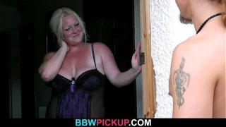 Blonde bbw gives head and doggystyled by stranger