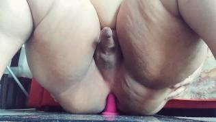fat round ass trans bbw rides dildo and CUMS hands free