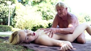 Foreign college student rides grandpas cock sucks it good and gets her pussy fucked hardcore