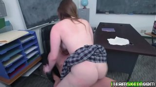 Nerdy teen loves to ride her virgin pussy on top of a huge cock!