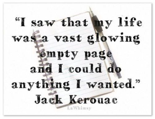 glowing empty page Kerouac