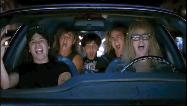 Wayne's World singing in car