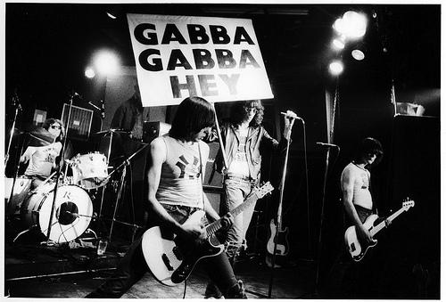 Ramones, CBGB's 1976 L to R: Tommy Ramone, Johnny Ramone, Joey Ramone, Dee Dee Ramone