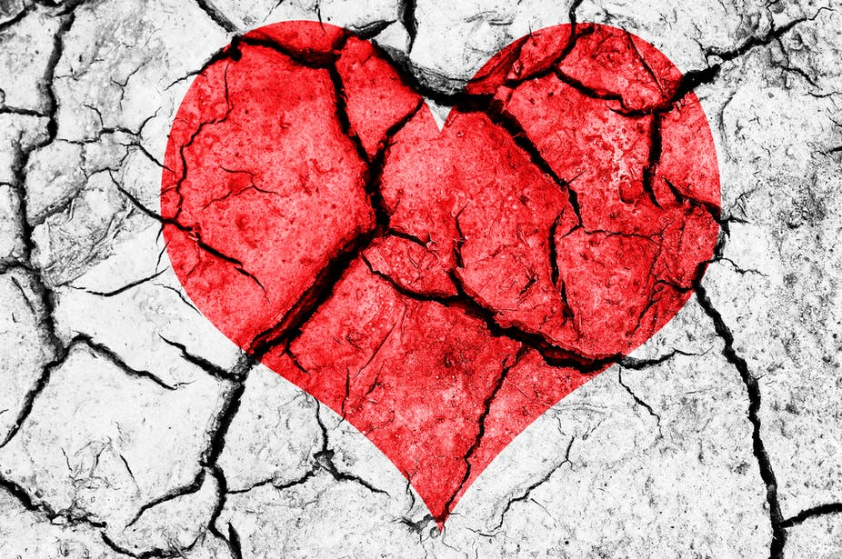 cracked broken heart on wall art