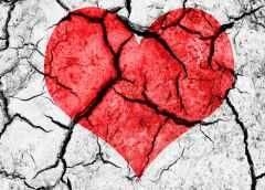 cracked broken heart on wall art