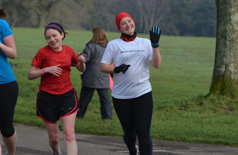 Tamsyn running with Maz at Southampton parkrun