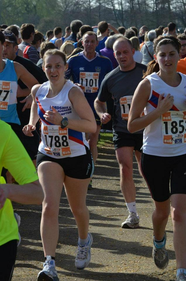 Tamsyn's sprint finish with Irene at Eastleigh 10k