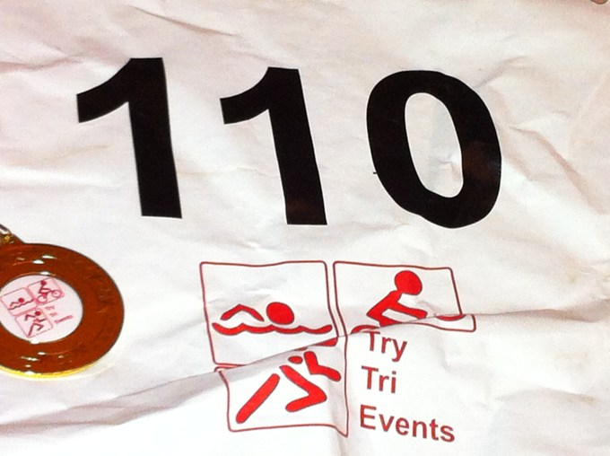 My race number and medal from Winchester Duathlon