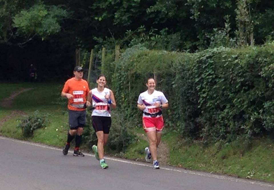 Tamsyn and Irene running through Burley