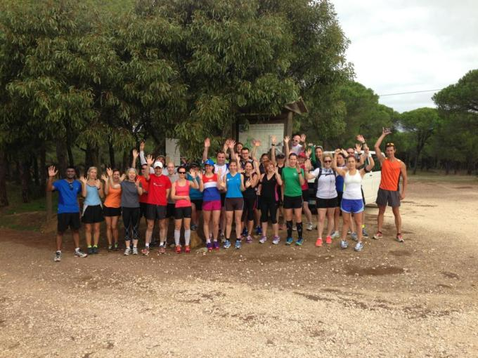 Group photo taken before the woodland trail run