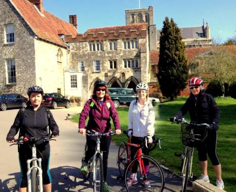 Jo's Breeze group in front of Winchester Cathedral
