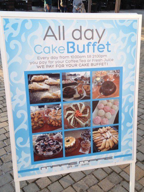 All day cake buffet sign