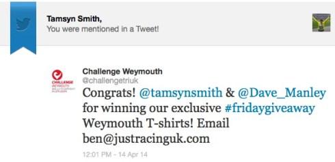 Challenge Weymouth tweet