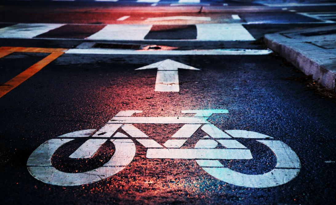 Cycling sign on a road
