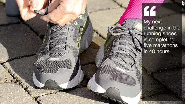 """Quotation: """"My next challenge in the running shoes is completing five marathons in 48 hours."""""""