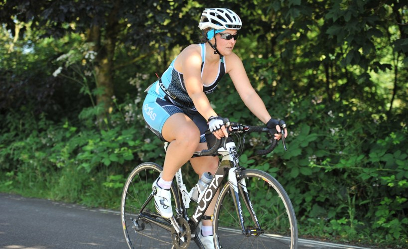 Tamsyn on her bike during Eastleigh Open Water Tri.