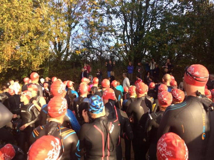 Rear view of Tamsyn before the swim start.