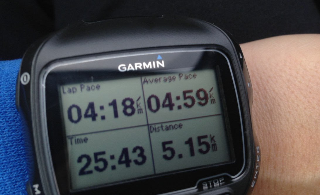 My Garmin showing an average pace of 4:59/km