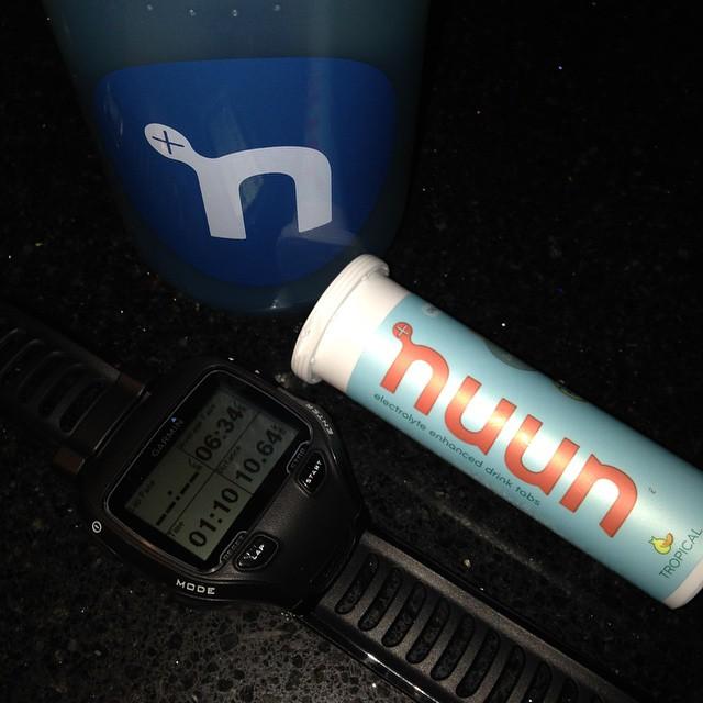 Nuun bottle, nuun tabs and my Garmin