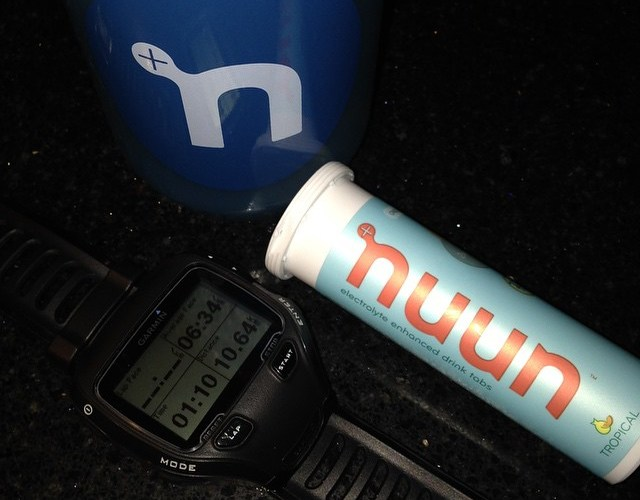 Nuun bottle, nuun tabs and my Garmin