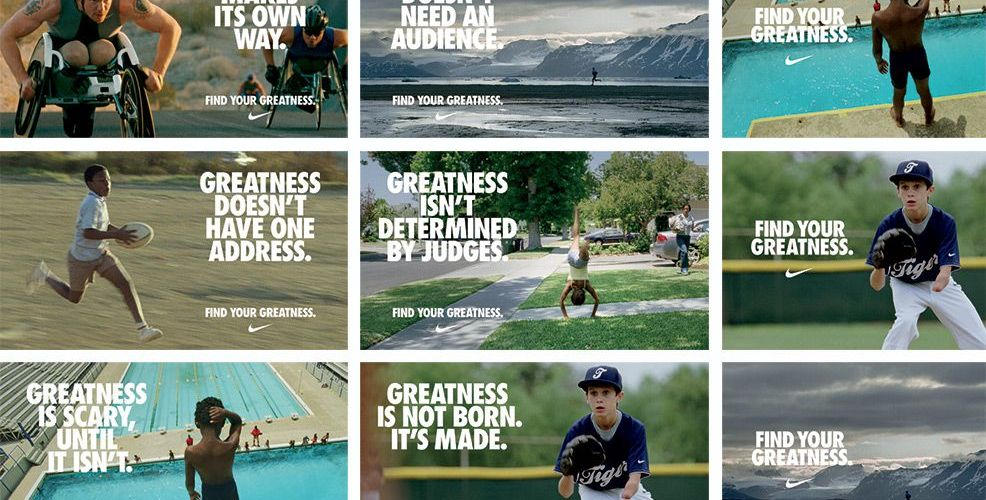 Montage of Nike Find your greatness adverts